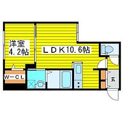 札幌市営東豊線 東区役所前駅 徒歩5分の賃貸マンション 3階1LDKの間取り
