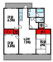 福岡県宗像市日の里4丁目の賃貸マンションの間取り