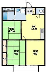 愛知県豊田市瑞穂町1丁目の賃貸アパートの間取り