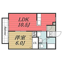 JR総武本線 榎戸駅 徒歩5分の賃貸アパート 1階1LDKの間取り