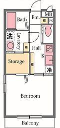 埼玉県東松山市松葉町4丁目の賃貸アパートの間取り