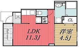 JR内房線 木更津駅 バス21分 金田中島下車 徒歩5分の賃貸アパート 1階1LDKの間取り