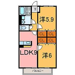 兵庫県加古川市尾上町養田2丁目の賃貸アパートの間取り