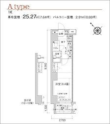 アイル川崎ステーションプラザ(日当たり良好、角住戸)[11階]の間取り