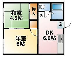 千葉県東金市関下の賃貸アパートの間取り