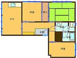 埼玉県熊谷市三ヶ尻の賃貸マンションの間取り