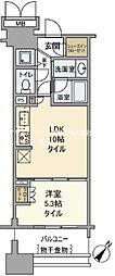 都営大江戸線 勝どき駅 徒歩10分の賃貸マンション 5階1LDKの間取り