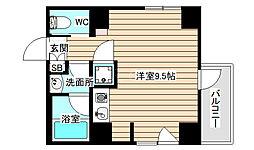 シーサ11 7階ワンルームの間取り