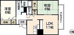 広島県広島市佐伯区千同1丁目の賃貸アパートの間取り