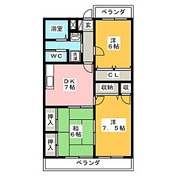 ディアコート中田[3階]の間取り