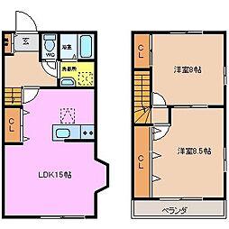 リッツハウスABCDE[C2号室]の間取り