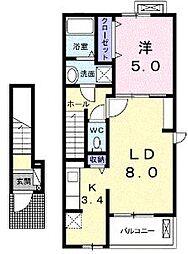 香川県丸亀市土器町東7丁目の賃貸アパートの間取り