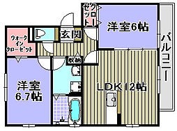 大阪府岸和田市今木町の賃貸アパートの間取り