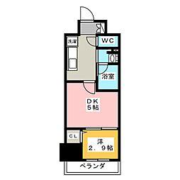 パークアクシス新栄 9階1DKの間取り