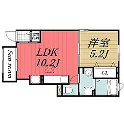 京成本線 京成成田駅 バス27分 本城下車 徒歩3分の賃貸アパート 1階1LDKの間取り