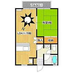 栃木県日光市土沢の賃貸アパートの間取り