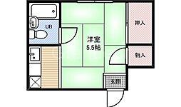 大阪府大阪市福島区大開1丁目の賃貸アパートの間取り