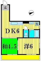 平沢松戸荘[6階]の間取り