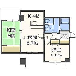 シャトー新川[6階]の間取り