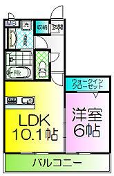 大阪府堺市堺区旭ヶ丘北町1丁の賃貸アパートの間取り