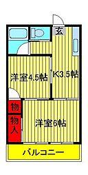 第2メゾン若竹[203号室]の間取り