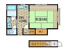 兵庫県神戸市長田区駒ケ林町2丁目の賃貸アパートの間取り