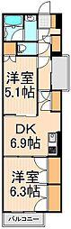 東京都足立区千住5丁目の賃貸マンションの間取り