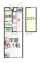 千葉県松戸市大金平3丁目の賃貸アパートの間取り