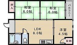 ロードヒル阪南町[3階]の間取り