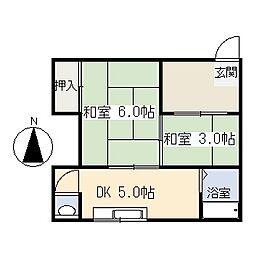 奥津アパート[12号室]の間取り