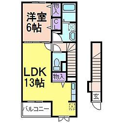 栃木県鹿沼市西茂呂3丁目の賃貸アパートの間取り