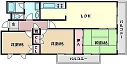 シャトレ甲南[3階]の間取り