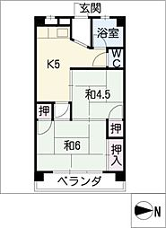 OS・SKYマンション鹿子[2階]の間取り