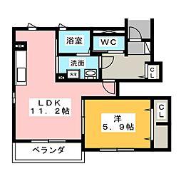 タウン上の平[1階]の間取り