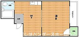 大阪府枚方市堤町の賃貸マンションの間取り