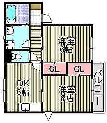 サンハイツ尾崎[102号室]の間取り