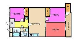 八戸ノ里グランドマンションA棟[A909号室]の間取り