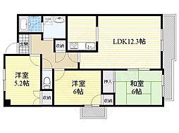 阪急千里線 南千里駅 徒歩21分の賃貸マンション 4階3LDKの間取り