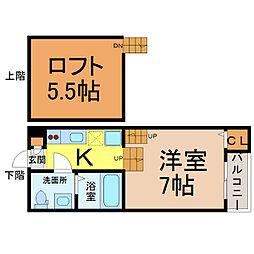 愛知県名古屋市北区東水切町1の賃貸アパートの間取り