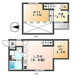 アコモ元中村[1階]の間取り