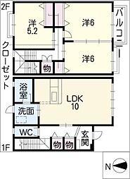 [タウンハウス] 岐阜県美濃加茂市西町5丁目 の賃貸【/】の間取り
