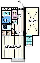 千葉県松戸市紙敷1の賃貸アパートの間取り