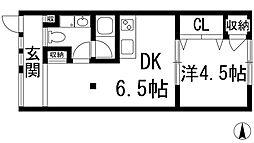 兵庫県宝塚市中野町の賃貸アパートの間取り