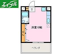 近鉄山田線 宮町駅 徒歩3分の賃貸マンション 3階ワンルームの間取り