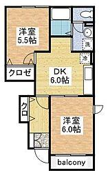 サンハイム柿ノ木[C102号室]の間取り
