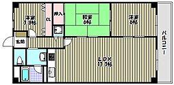 金剛グリーンハイツHA棟[6階]の間取り