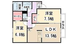 兵庫県伊丹市安堂寺町4丁目の賃貸アパートの間取り
