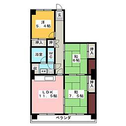 シャトー千代田[6階]の間取り