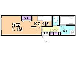 札幌市営東豊線 豊平公園駅 徒歩6分の賃貸マンション 4階1Kの間取り