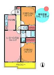 東京都葛飾区西亀有2丁目の賃貸マンションの間取り